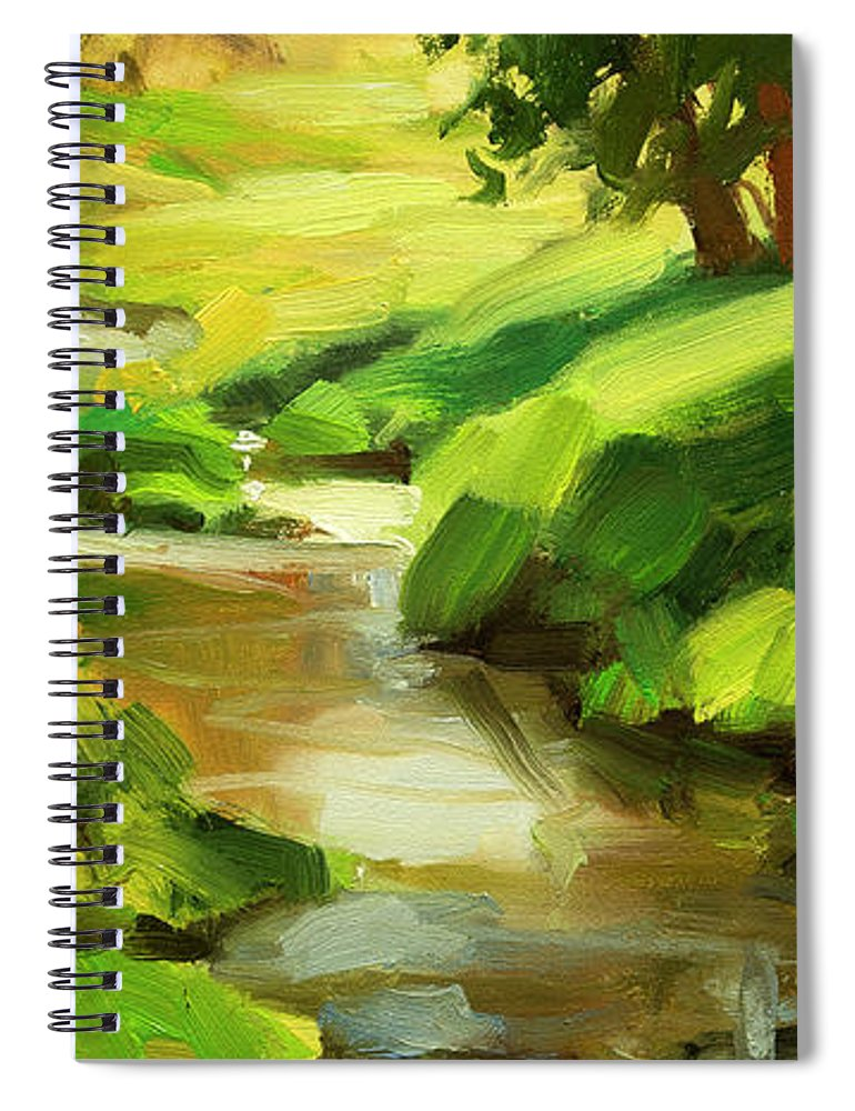 River Spiral Notebook featuring the painting Verdant Banks by Steve Henderson