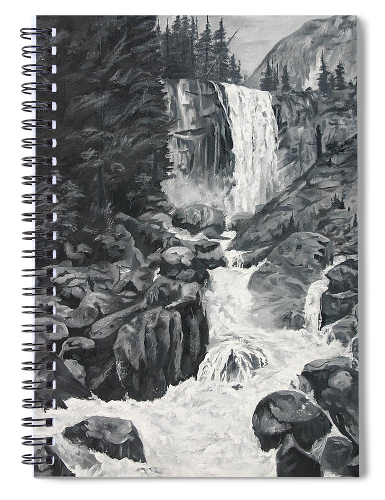Landscape Spiral Notebook featuring the painting Vernal Falls Black and White by Travis Day
