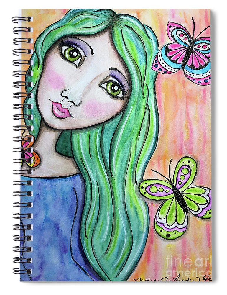 Whimsical Character Spiral Notebook featuring the painting Hazel by Nadine Larder