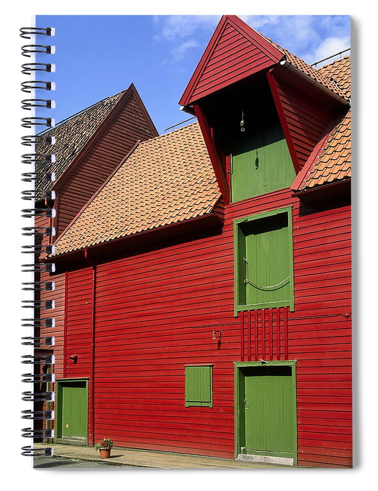 Vibrant Red & Green Building Spiral Notebook featuring the photograph Vibrant Red And Green Building by Sally Weigand