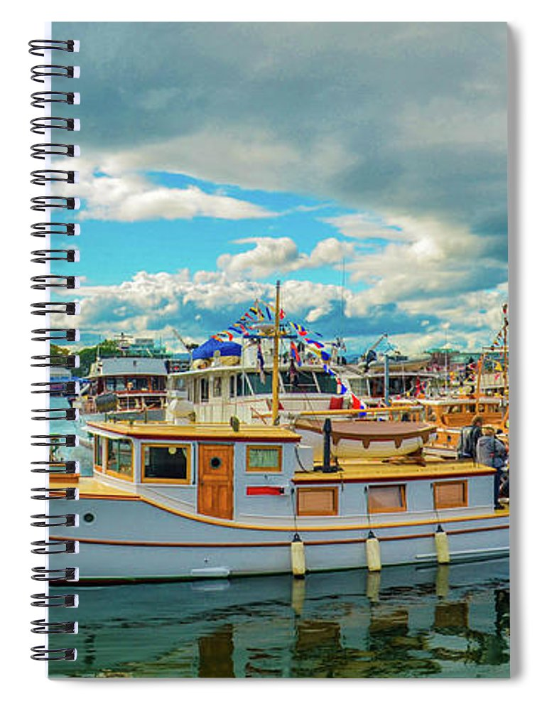 Boats Spiral Notebook featuring the photograph Victoria Harbor old boats by Jason Brooks