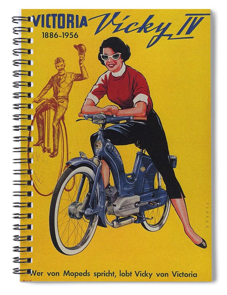 Vintage Spiral Notebook featuring the mixed media Victoria Vicky Iv - Motorcycle - Vintage Advertising Poster by Studio Grafiikka