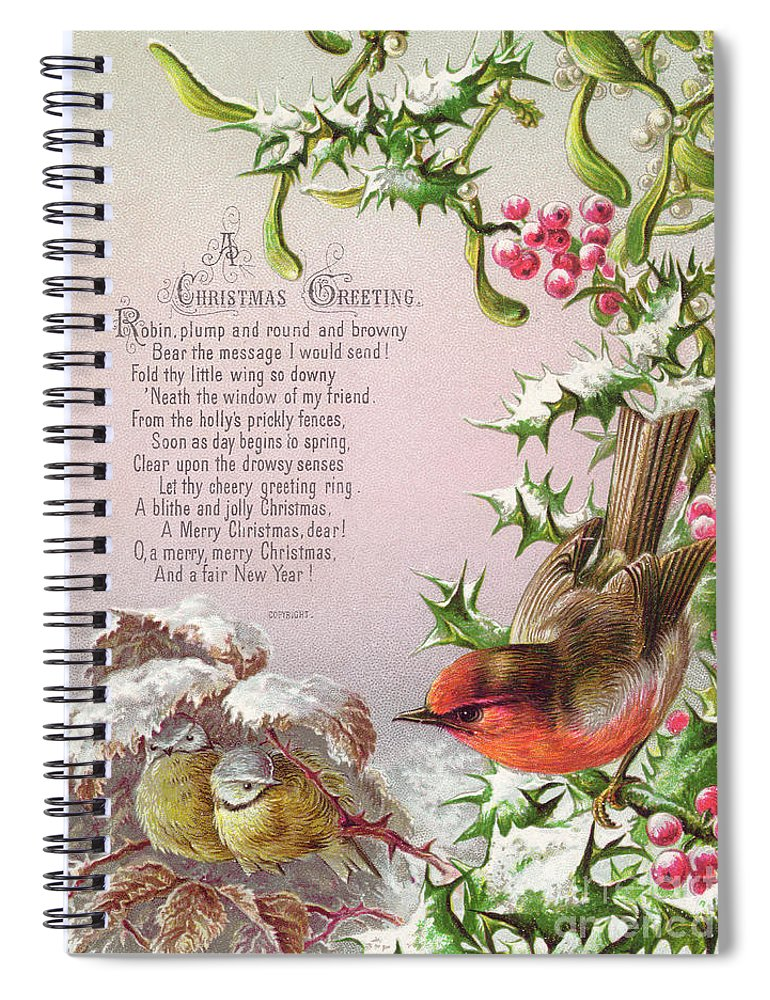 greetings card spiral notebook featuring the painting victorian christmas and new year card of a robin