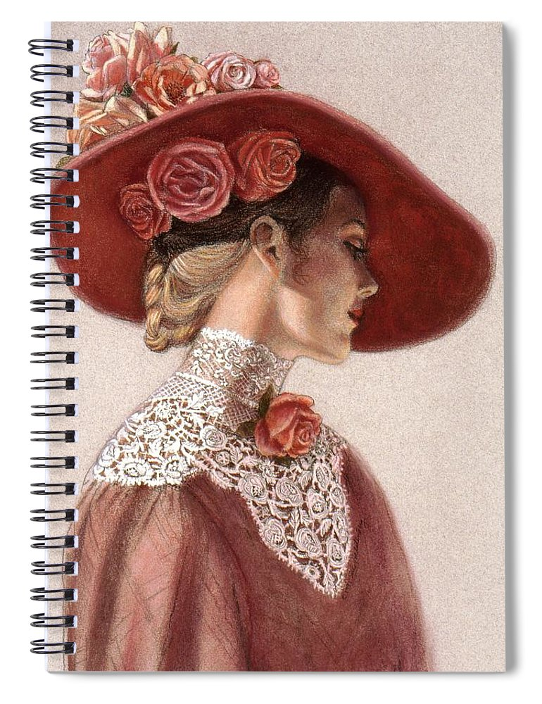 Victorian Lady Spiral Notebook featuring the painting Victorian Lady In A Rose Hat by Sue Halstenberg