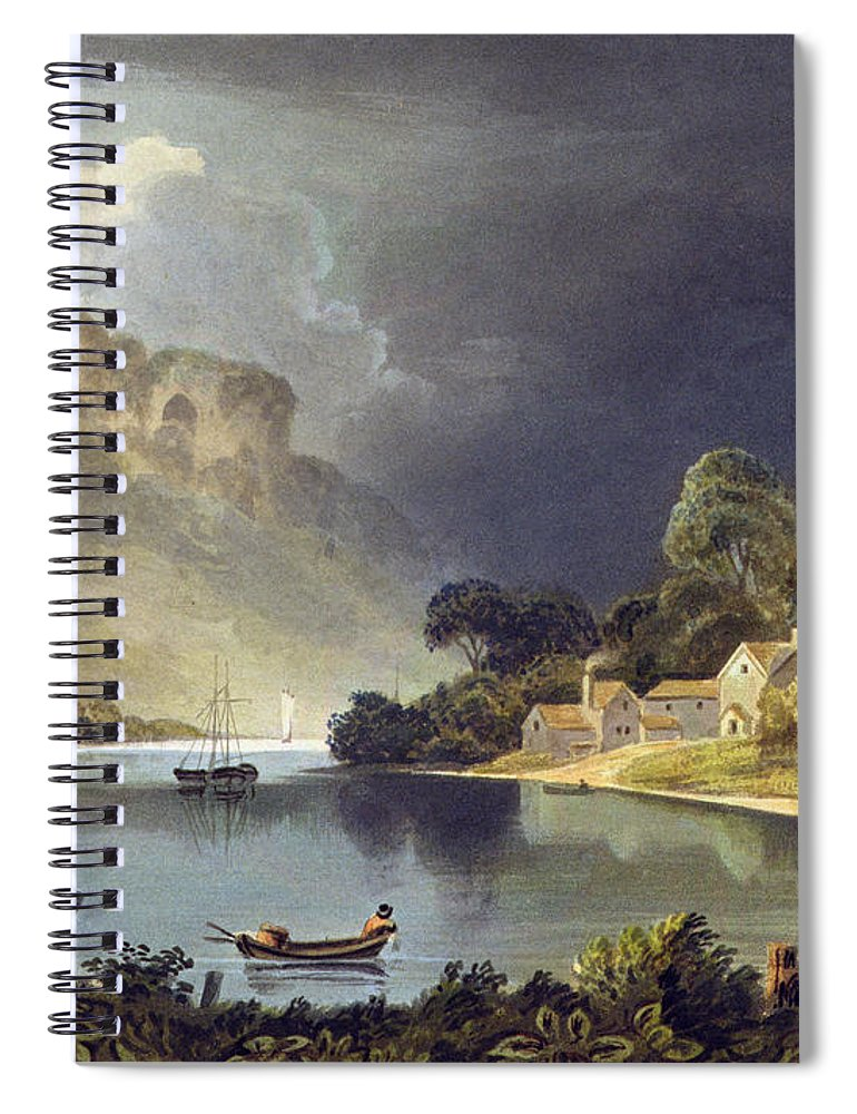 Landscape Spiral Notebook featuring the painting View Down The River At The New Weir by Theodore Henry Fielding
