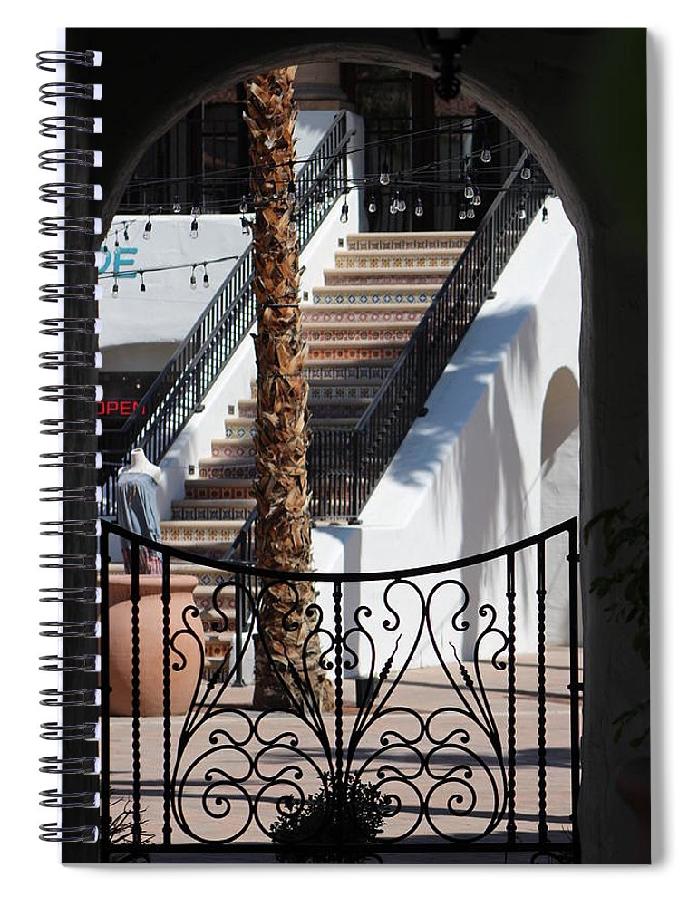 Adobe Spiral Notebook featuring the photograph View Of Courtyard Through Adobe Doorway Photograph By Colleen by Colleen Cornelius