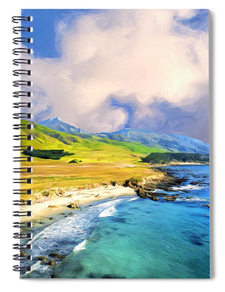 Big Sur Spiral Notebook featuring the painting View Of Point Sur by Dominic Piperata