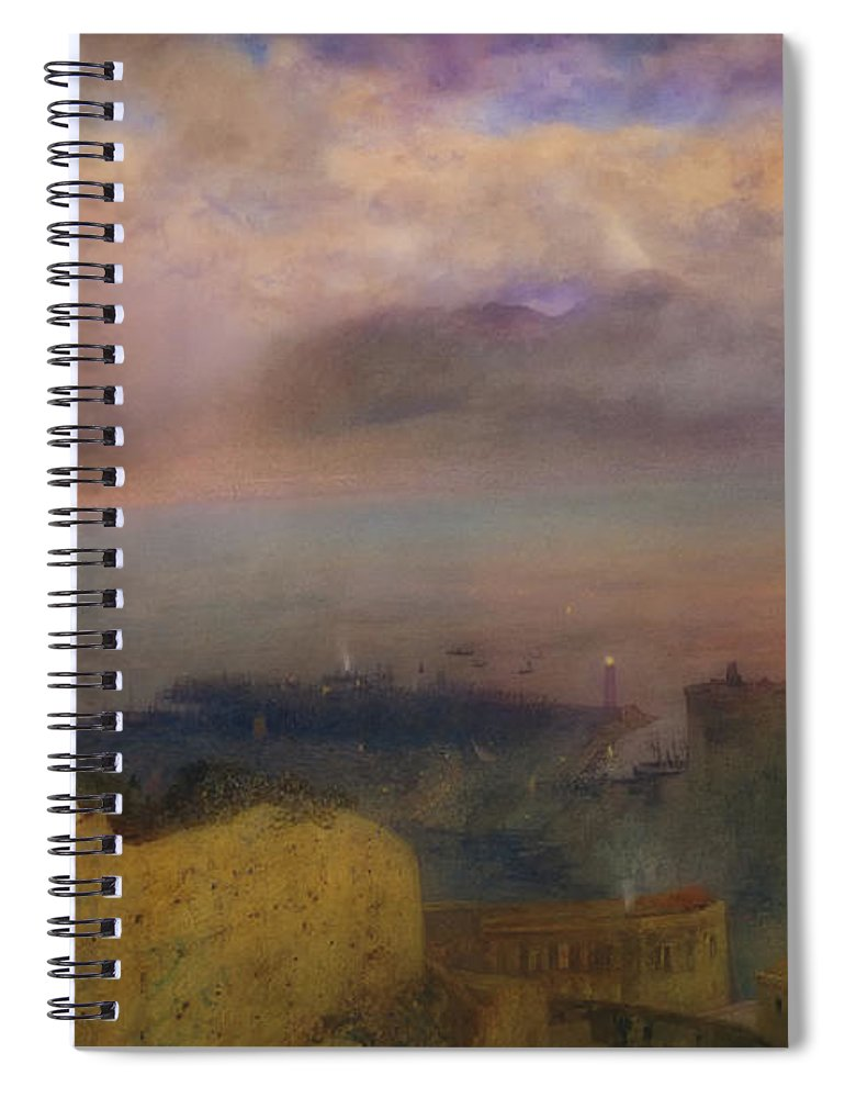 Art Spiral Notebook featuring the painting View Of The Bay Of Naples With Vesuvius Smoking In The Distance by Alfred Hunt