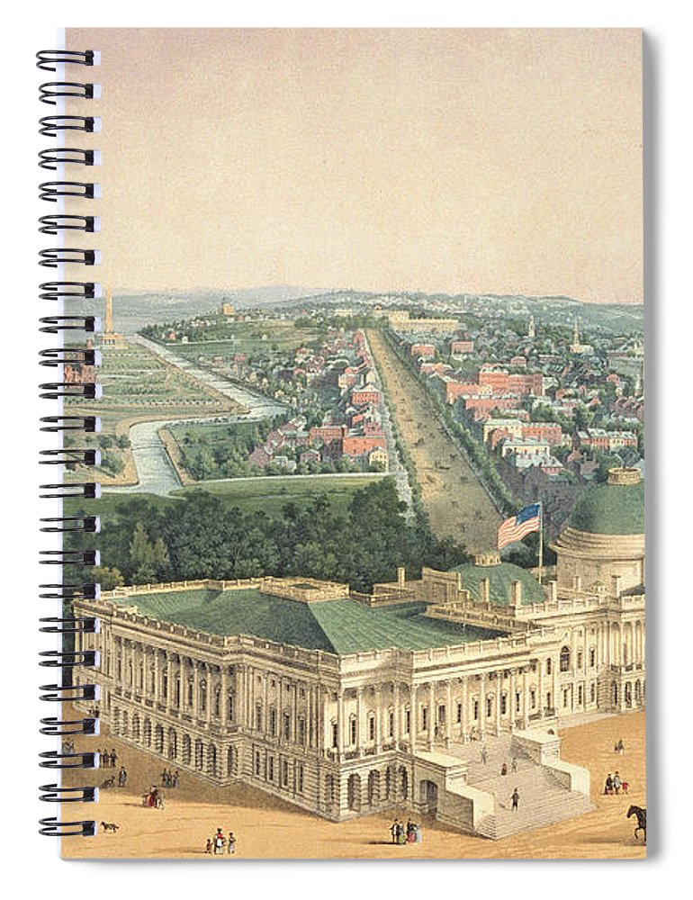 View Of Washington Spiral Notebook featuring the painting View Of Washington Dc by Edward Sachse