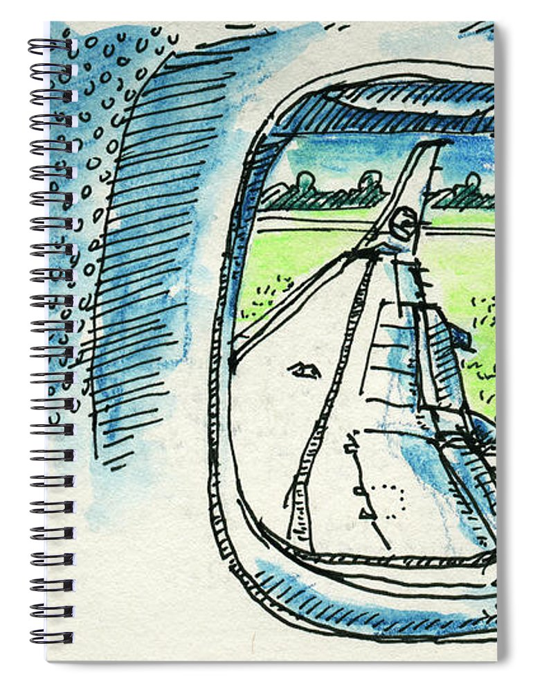 View Out Of Airplane Window Drawing Spiral Notebook For Sale By