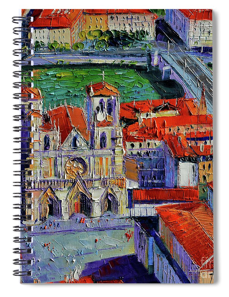 View Over Cathedral Saint Jean Lyon Spiral Notebook featuring the painting View Over Cathedral Saint Jean Lyon by Mona Edulesco