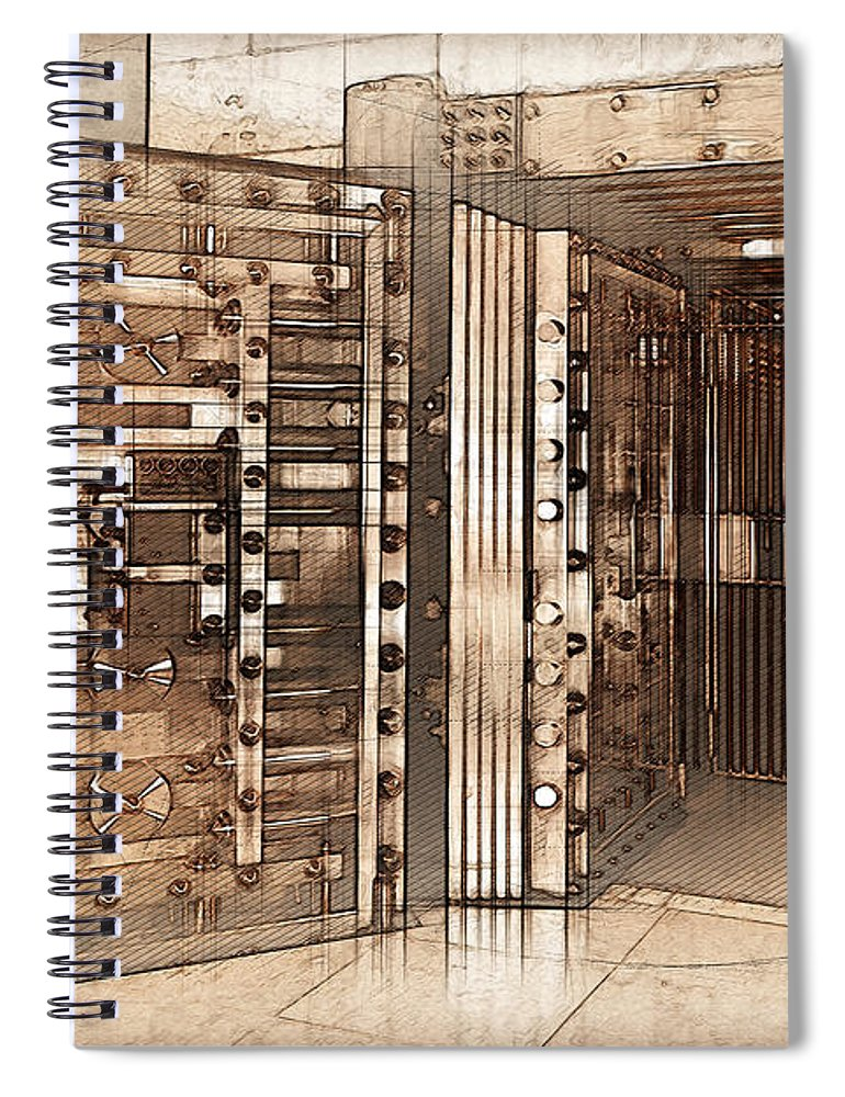 'bank Vaults & Locks' Collection By Serge Averbukh Spiral Notebook  featuring the digital art - Vintage Bank Vault Door And Lock No. 2 Spiral Notebook For Sale By