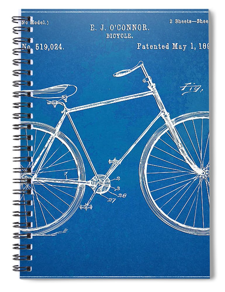 Bicycle Spiral Notebook featuring the digital art Vintage Bicycle Patent Artwork 1894 by Nikki Marie Smith