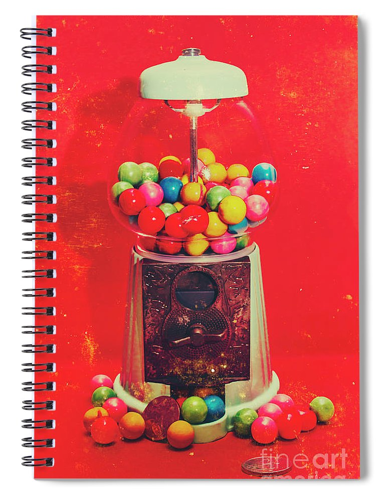 Retro Spiral Notebook featuring the photograph Vintage candy store gum ball machine by Jorgo Photography