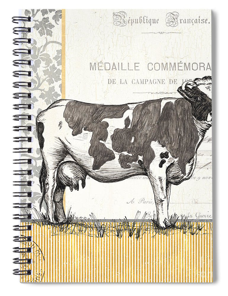 Cow Spiral Notebook featuring the painting Vintage Farm 4 by Debbie DeWitt