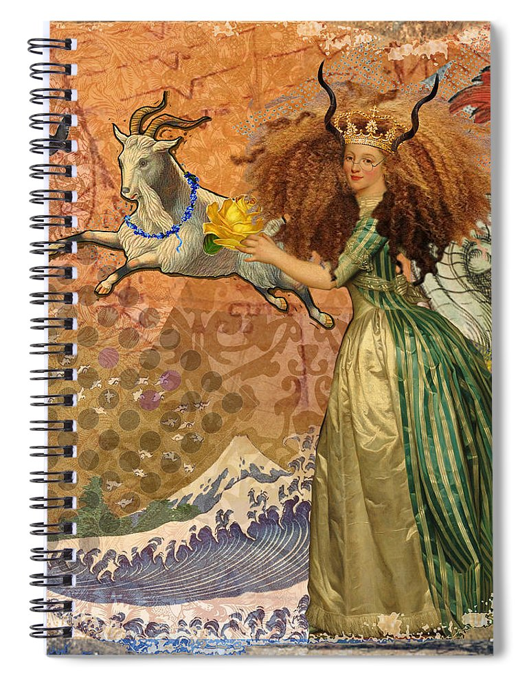 Doodlefly Spiral Notebook featuring the digital art Vintage Golden Woman Capricorn Gothic Whimsical Collage by Mary Hubley