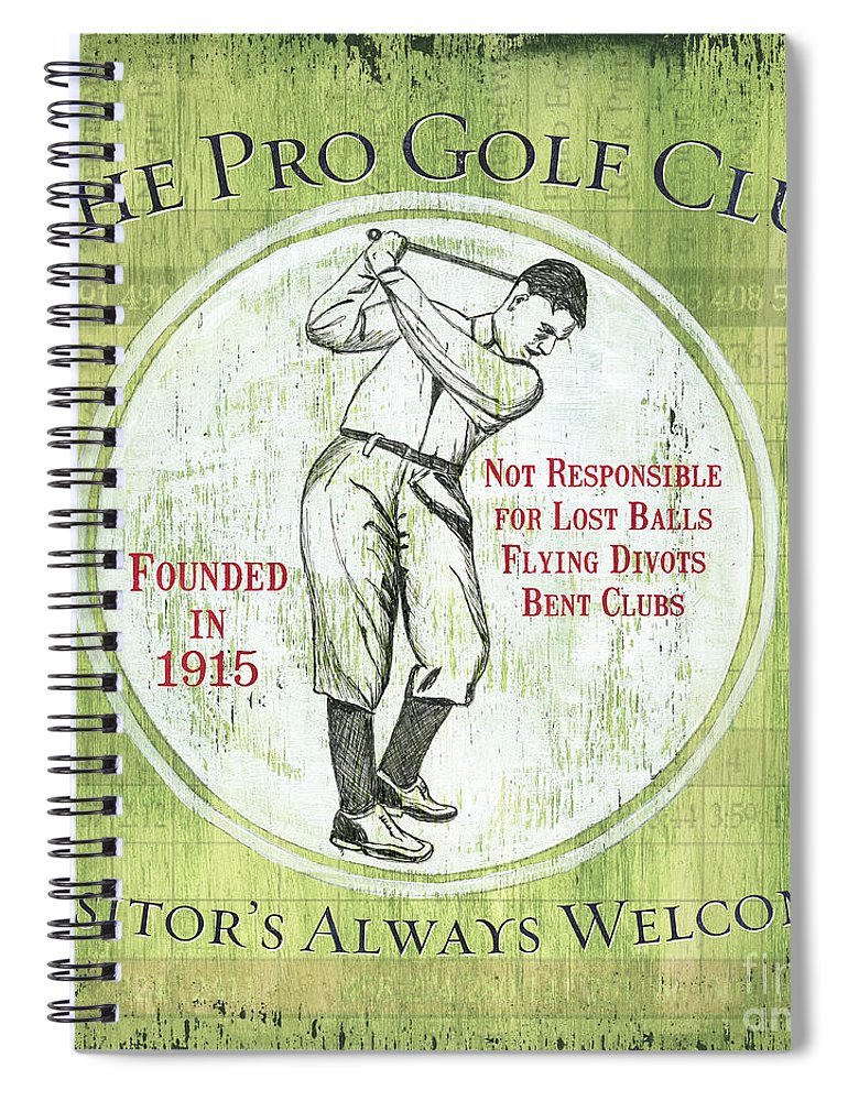 Golf Spiral Notebook featuring the painting Vintage Golf Green 2 by Debbie DeWitt