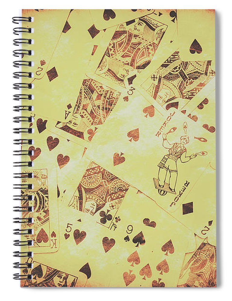 Poker Spiral Notebook featuring the photograph Vintage Poker Card Background by Jorgo Photography - Wall Art Gallery