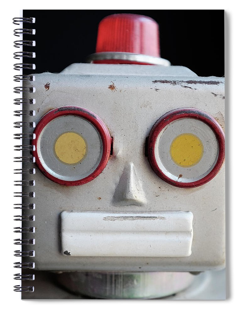 Robot Spiral Notebook featuring the photograph Vintage Robot Square by Edward Fielding