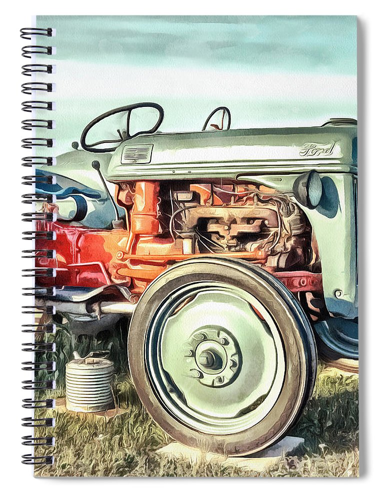 Painting Spiral Notebook featuring the painting Vintage Tractors Pei Square by Edward Fielding