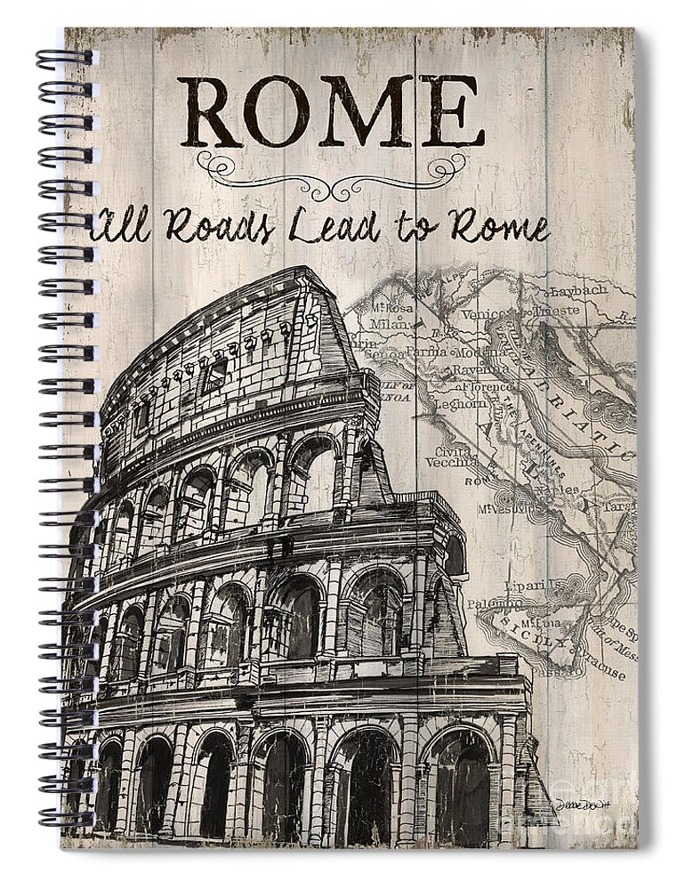 Rome Spiral Notebook featuring the painting Vintage Travel Poster by Debbie DeWitt