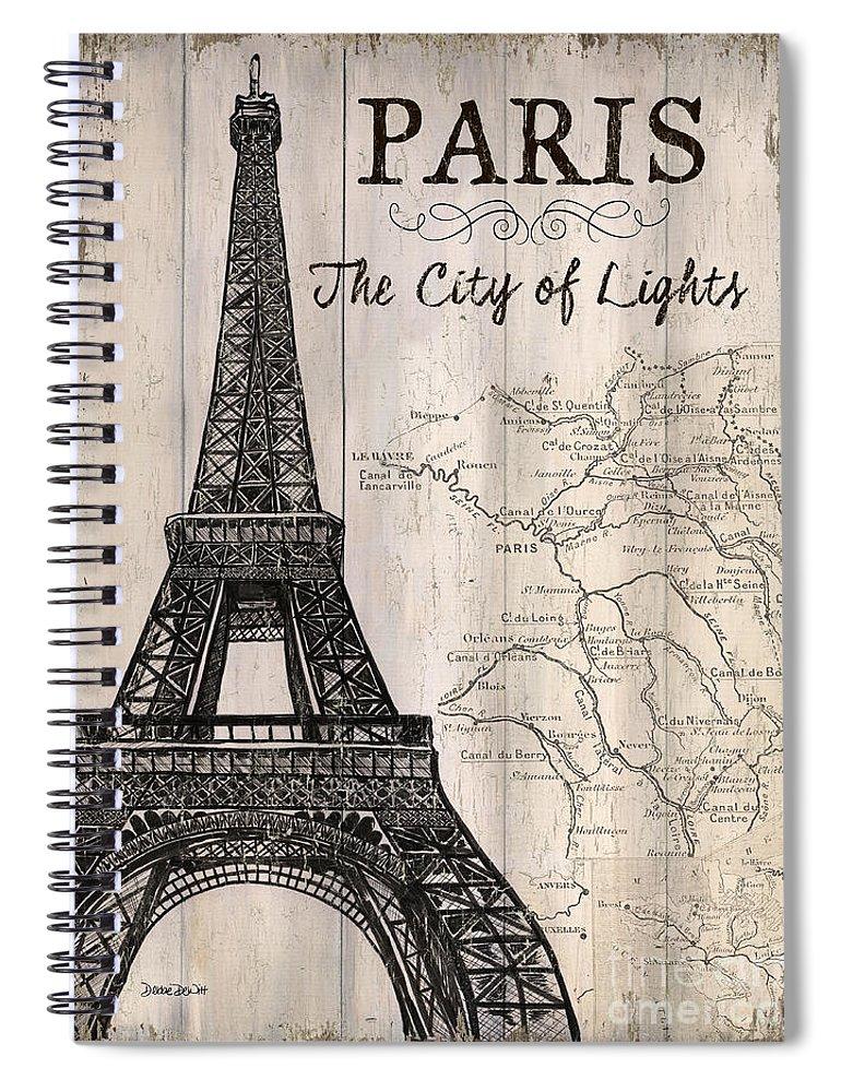 Paris Spiral Notebook featuring the painting Vintage Travel Poster Paris by Debbie DeWitt