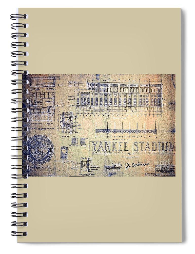 Joe Dimaggio Spiral Notebook featuring the drawing Vintage Yankee Stadium Blueprint by Peter Ogden Gallery