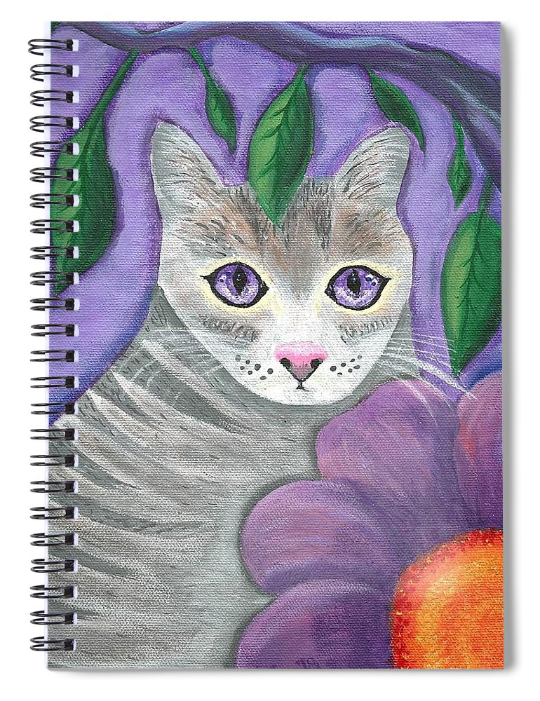 Violet Purple Lavender Eyes Kitty Cat Flower Floral Tabby Grey Spiral Notebook featuring the painting Violet Eyed Cat by Monica Resinger
