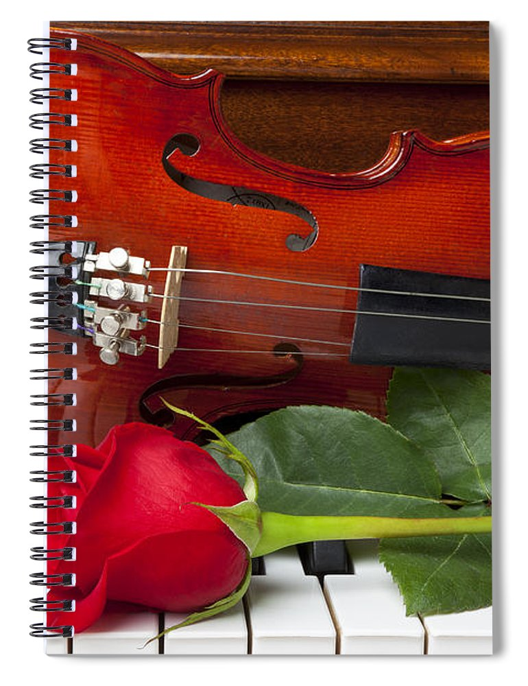 Violin Spiral Notebook featuring the photograph Violin With Rose On Piano by Garry Gay