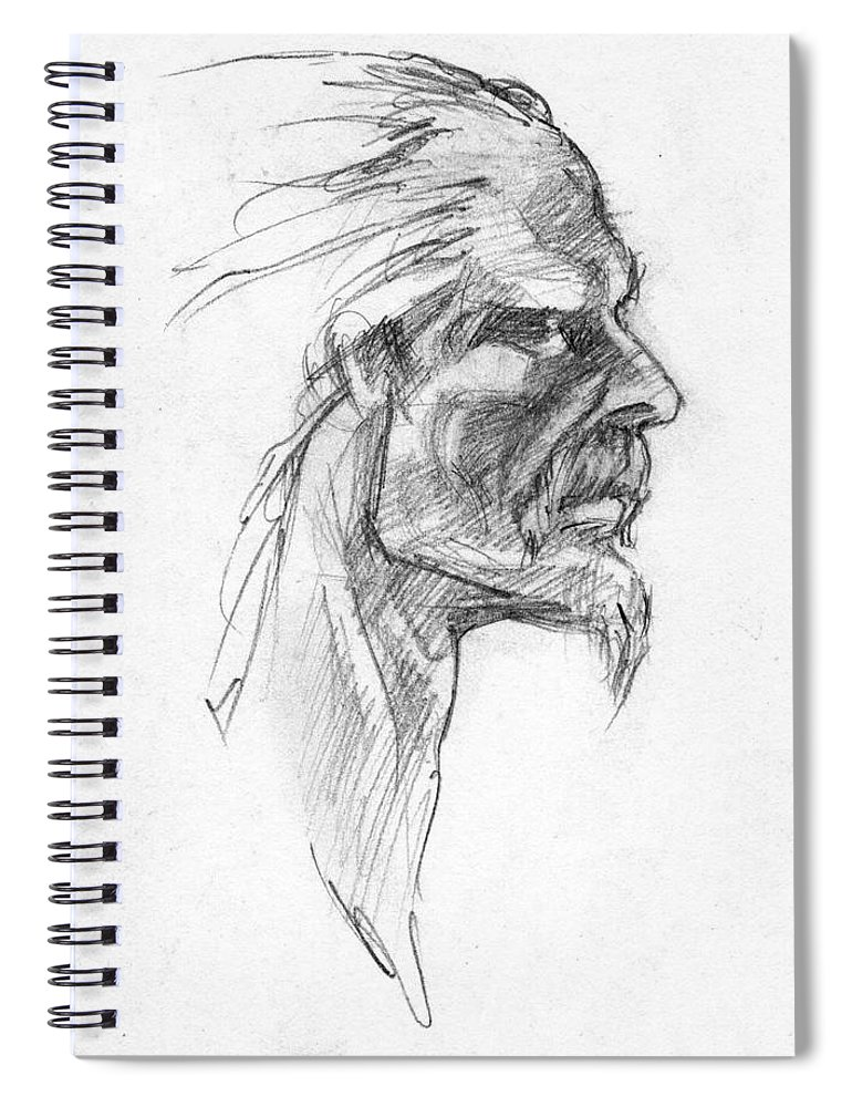 Celtic Spiral Notebook featuring the drawing Vircingetorix by Scott Waters