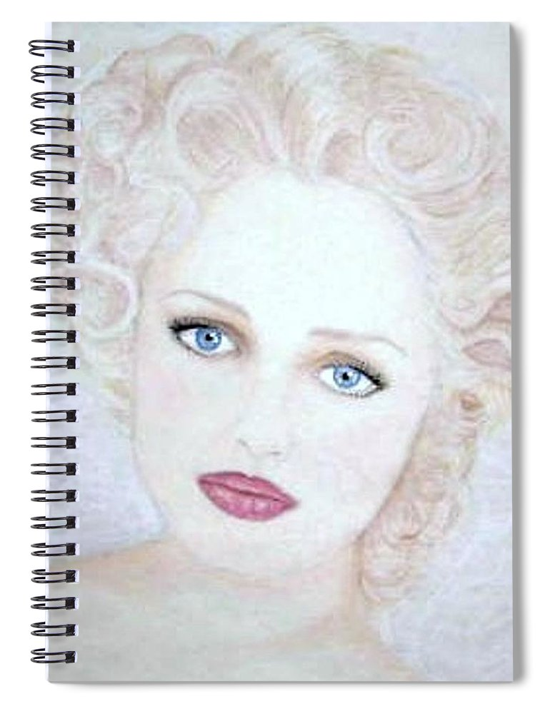 Face Spiral Notebook featuring the drawing Virginia by Scarlett Royal