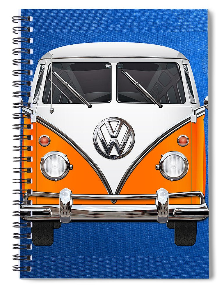 'volkswagen Type 2' Collection By Serge Averbukh Spiral Notebook featuring the photograph Volkswagen Type - Orange And White Volkswagen T 1 Samba Bus Over Blue Canvas by Serge Averbukh