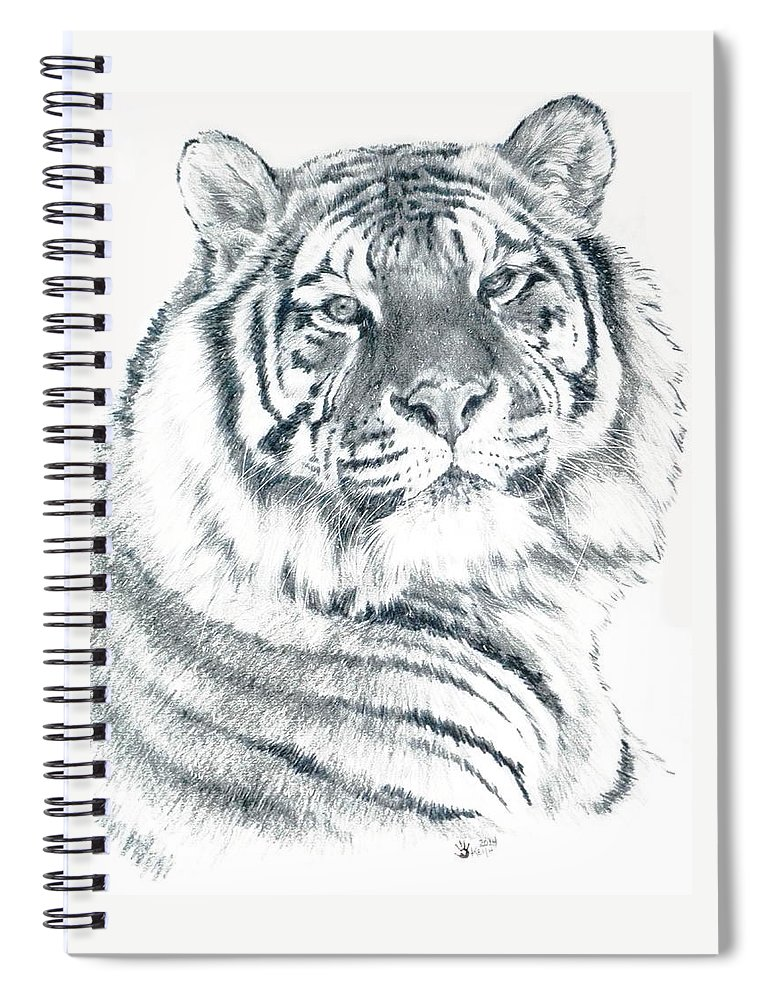 Tiger Spiral Notebook featuring the drawing Voyager by Barbara Keith