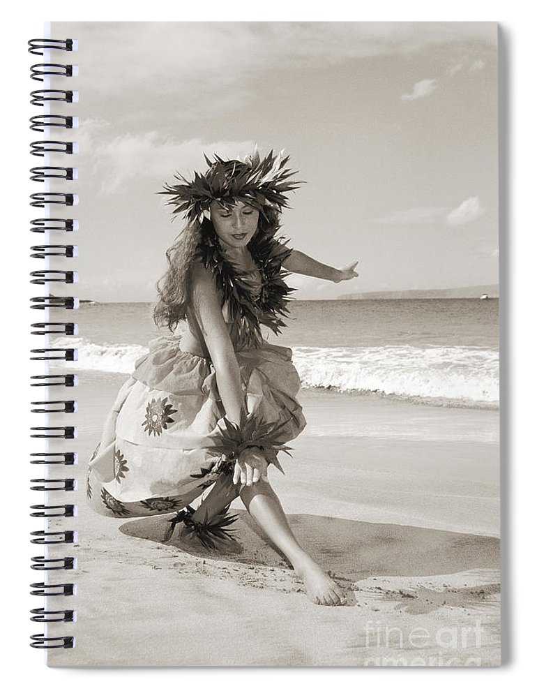 Active Spiral Notebook featuring the photograph Wahine Hula by Himani - Printscapes