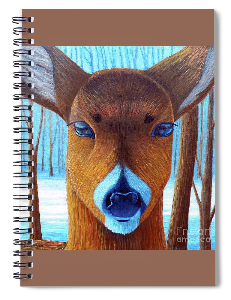 Deer Spiral Notebook featuring the painting Wait For The Magic by Brian Commerford