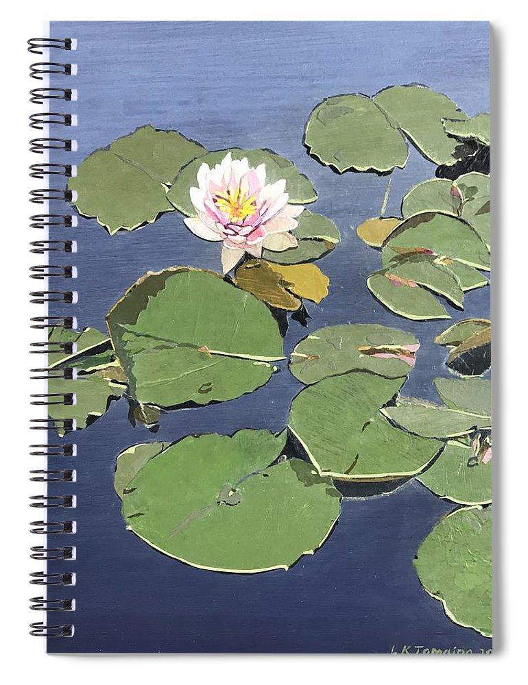 Recycled Spiral Notebook featuring the painting Waiting Lotus by Leah Tomaino