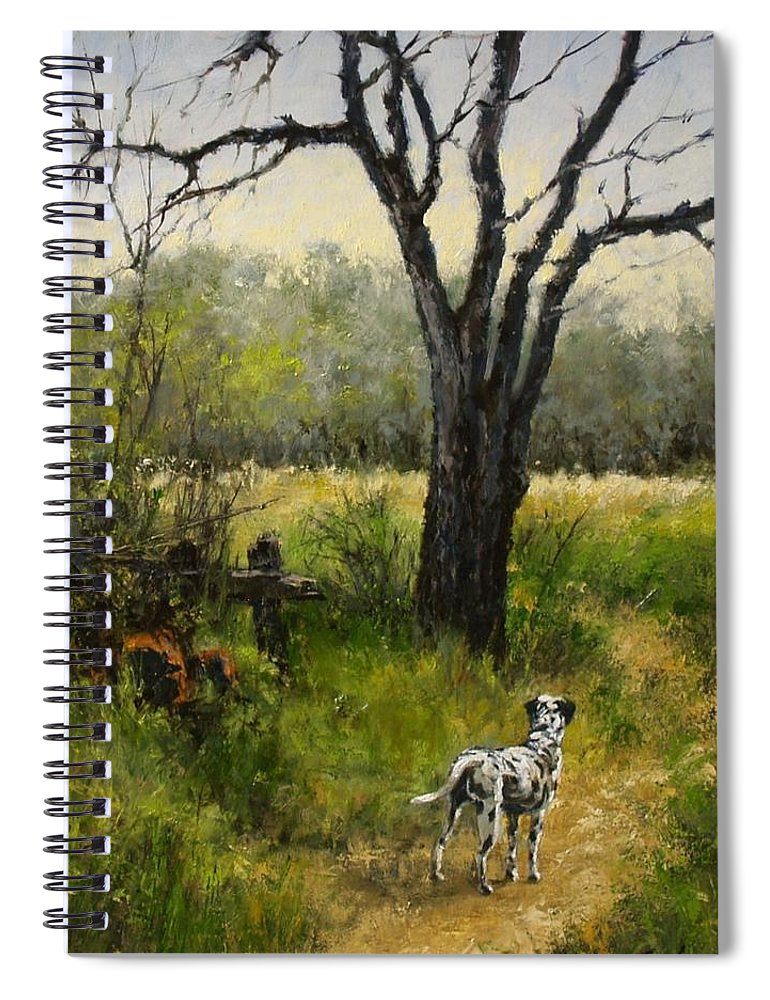 Painting Spiral Notebook featuring the painting Walking With Farley by Jim Gola