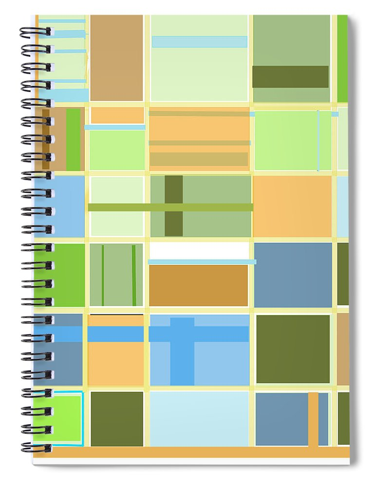 Patterns Abstract Blues Greens Squares Spiral Notebook featuring the digital art We Are Connected by Suzanne Udell Levinger