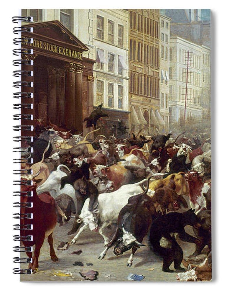 1879 Spiral Notebook featuring the photograph Wall Street: Bears & Bulls by Granger