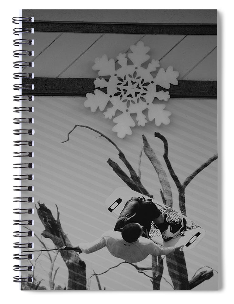 Snow Flake Spiral Notebook featuring the photograph Wall Surfing With A Snow Flake by Rob Hans