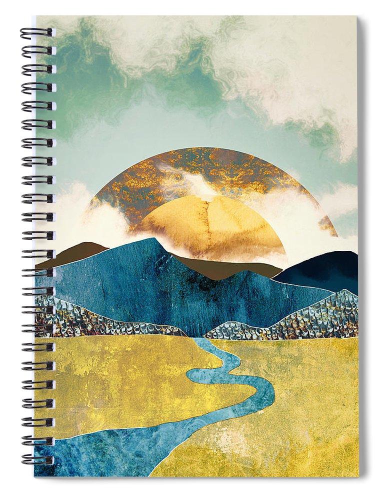 Mountains Spiral Notebook featuring the digital art Wanderlust by Katherine Smit