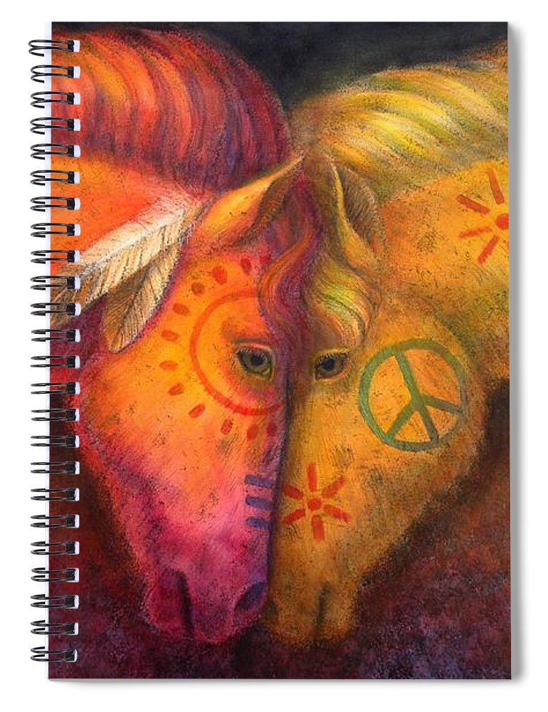 Horse Spiral Notebook featuring the painting War Horse And Peace Horse by Sue Halstenberg