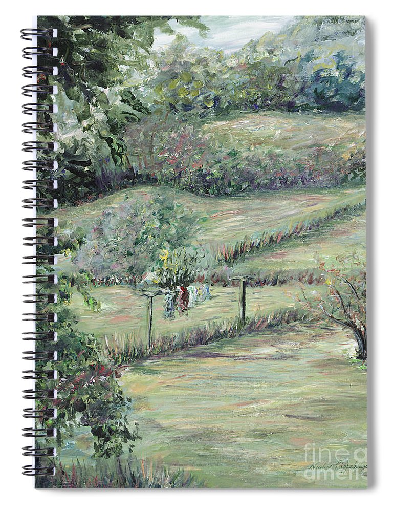 Landscape Spiral Notebook featuring the painting Washday in Provence by Nadine Rippelmeyer