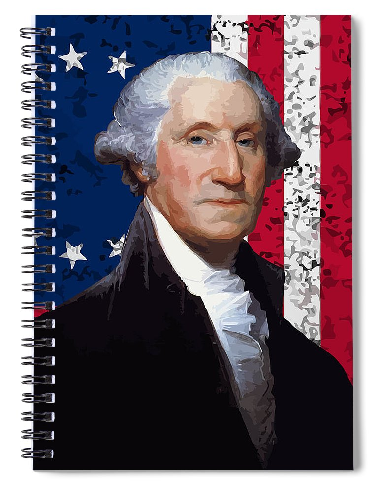George Washington Spiral Notebook featuring the painting Washington And The American Flag by War Is Hell Store
