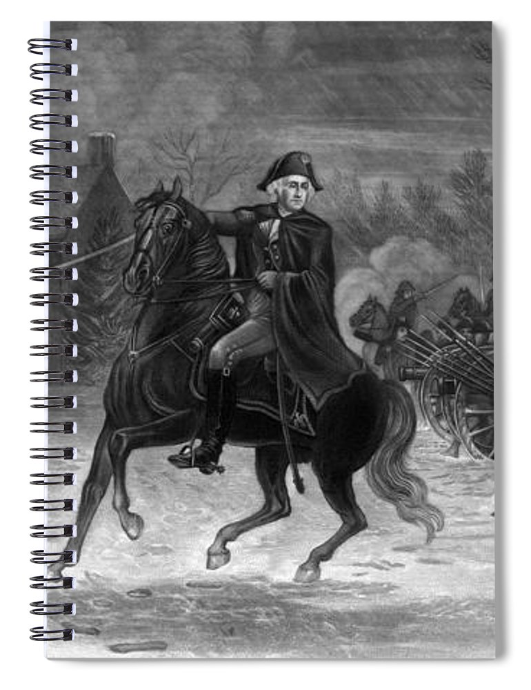 George Washington Spiral Notebook featuring the painting Washington At The Battle Of Trenton by War Is Hell Store
