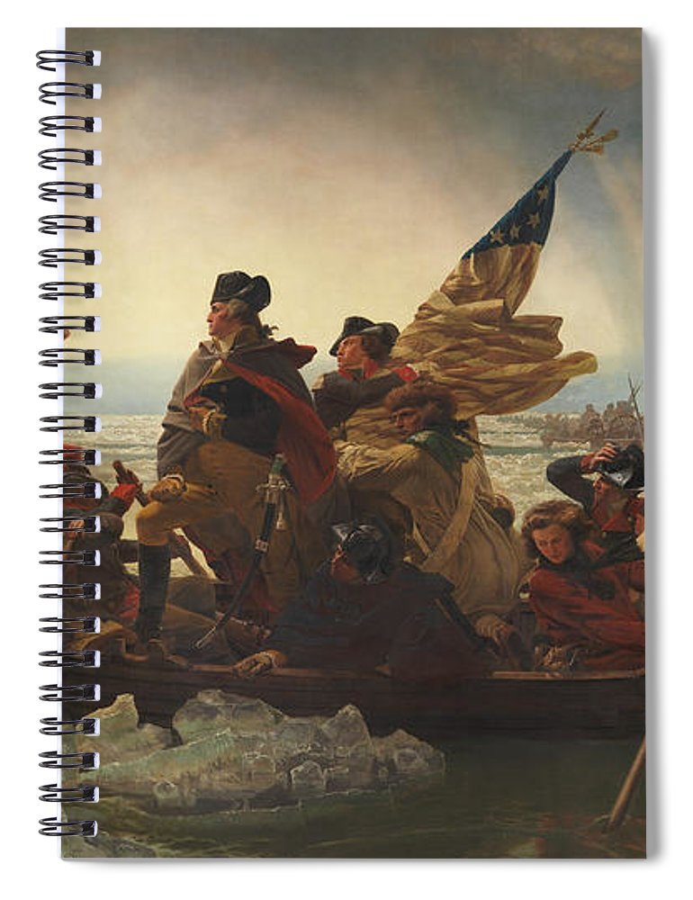 George Washington Spiral Notebook featuring the painting Washington Crossing The Delaware by War Is Hell Store