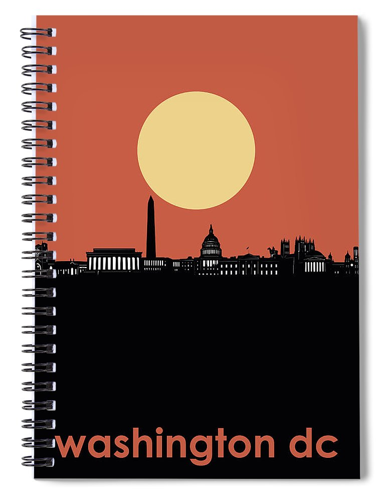 Washington Dc Spiral Notebook featuring the digital art Washington Dc Skyline Minimalism 3 by Bekim M