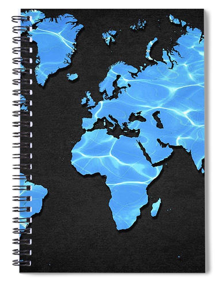 Map Spiral Notebook featuring the digital art Water World by Douglas Pittman