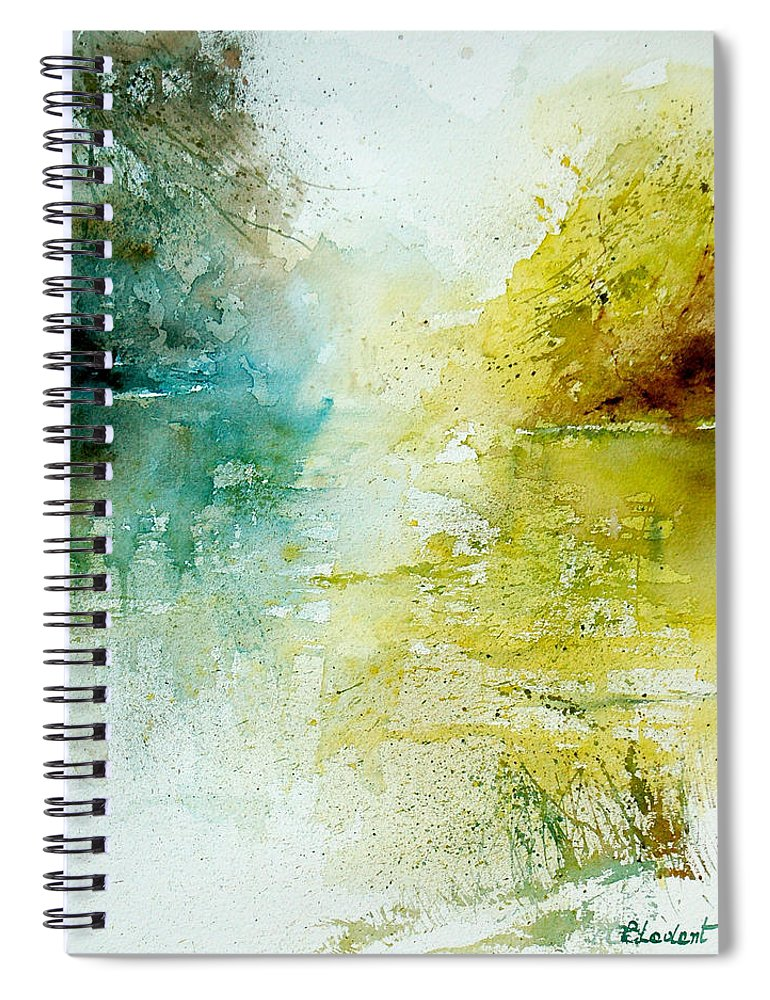 Pond Nature Landscape Spiral Notebook featuring the painting Watercolor 24465 by Pol Ledent