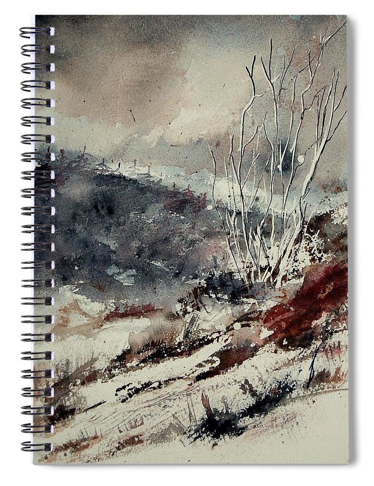 Snow Spiral Notebook featuring the print Watercolor 446 by Pol Ledent
